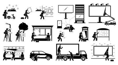 Agence de publicité mettant en place une publicité d'affichage pour le marketing extérieur. Illustrations vectorielles de stick figure man livrant une affiche, une bannière, un panneau d'affichage à différents endroits pour la stratégie marketing. Vecteurs