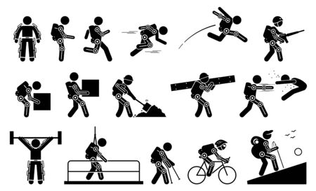 Human wearing futuristic exoskeleton body for bionic power stick figure pictogram icons. Vector illustrations of man with exoskeleton suit for strength, military, construction, medical, and sport.