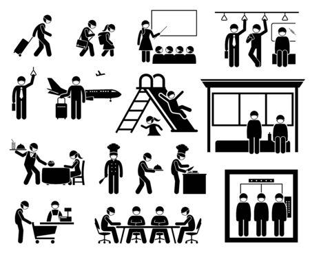 People wearing surgical mask at different places to protect from virus, influenza, coronavirus, and flu. Vector artwork of traveler, school children, teacher, commuter, businessman wear surgical mask.