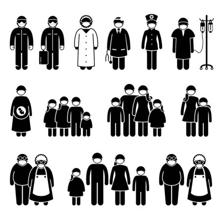 People wearing surgical mask to protect from virus, influenza, flu and novel coronavirus. Vector artwork of doctor, nurse, medical worker, patient, man, woman, kids, children, and family wear mask.