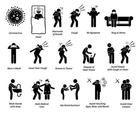Zeichensymptome des Coronavirus und Tipps zur Vorbeugung. Vektorgrafiken von Menschen, die mit Coronavirus, Influenza oder Grippe infiziert sind. Vorsorge- und Präventionsmöglichkeiten, um die Ausbreitung des Pandemievirus zu stoppen.
