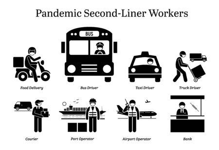 Travailleurs de deuxième ligne en cas de pandémie de virus. Icônes vectorielles du livreur de nourriture, du chauffeur de camion de taxi de bus, du courrier, du facteur, du facteur, de l'opérateur de l'aéroport portuaire et du personnel de la banque portant un masque chirurgical.