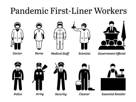 Travailleurs de première ligne en cas de pandémie de virus. Icônes vectorielles du médecin, de l'infirmière, du personnel médical, du scientifique, du représentant du gouvernement, de la police, de l'armée, du gardien de sécurité, du nettoyeur et du détaillant essentiel portant un masque chirurgical. Vecteurs