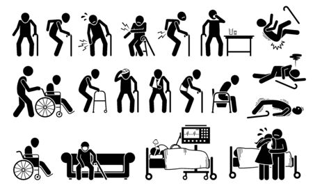 Injured old man with body ache and joint pain. illustrations of elderly men with injury using wheelchair, bandage plaster cast for broken bone. People on ventilator respirator at ICU hospital.
