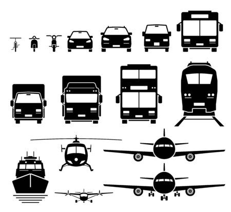 Front view of ground, air, and water transportation vehicles icons set. Vector of bicycle, motorcycle, car, SUV, van, bus, lorry, truck, double decker bus, train, boat, ship, helicopter, and airplane.