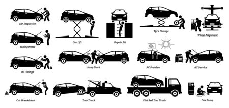 Mechanic check and fix car at workshop garage. Vector icons of auto car service shop for vehicle maintenance and repair. Services are tire replacement, wheel alignment, oil change, and AC service.
