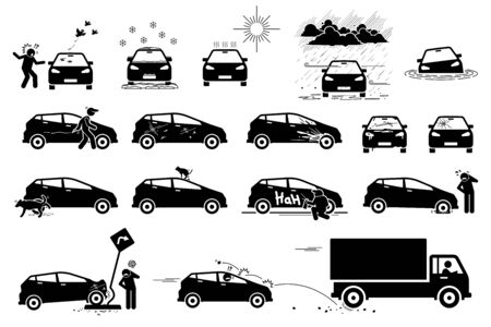 Weather, animal, and road hazard destroy and damage car icons. Vector illustration of hot sun, snow, acid rain, and flood damaging car. People vandalism on vehicle by scratching. Dirty old broken car.