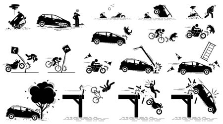 Road hazard, car accident, and traffic mishap. Vector icons of car driver stuck in mud, vehicle drive into water, bang onto tree, crash on traffic sign, motorcycle knock on dog, and fall off bridge. Ilustração