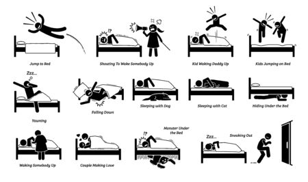 Vector illustrations of things that people do on bed. Cliparts depict man jumping onto the bed. Angry wife and noisy kids waking up a person. People sleeping with cat and dog. Monster hide under bed.