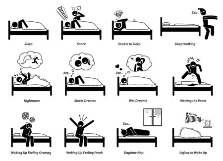 People sleeping, dreaming, and waking up from the bed. Vector illustrations of a person asleep, snoring, sleep walking, resting, napping, and waking up. The man has nightmare, sweet and wet dreams. Stock Illustratie
