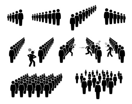 People queue and lining up. Vector artwork of crowd queuing in line waiting their turns. A person is getting impatient and cutting the line. Some masses are scattered and standing everywhere.
