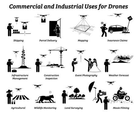 Drone usage and applications for commercial and industrial work. Vector icons of drones uses on shipping, delivery, mapping, infrastructure, construction, weather, agricultural, and land survey. Иллюстрация