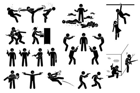 Movie action hero fight scene. Vector clipart of man fighting many bad people. He is surrounded but beat the gangs. The stick figure action hero use gun in different poses. He is strong and skillful. Ilustración de vector