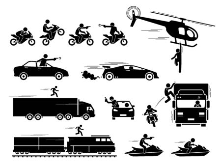 Movie action hero car motorcycle chase scene. Vector of people chasing and shooting with gun at car, motorcycle, and jet ski. Stunt man hanging on helicopter and running on top of train and truck.