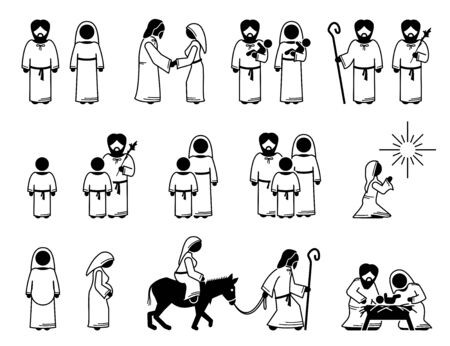Virgin Mary, Saint Joseph, and Jesus Christ stick figures. Vector illustration of baby and young Jesus Christ with his father and mother. Visitation from God to Mother Mary. Baby Jesus on manger.