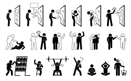 Self help metaphor in stick figure pictogram icons. Vector illustration concept of a person helping himself by reading self help book. The person in the mirror reflection come out and give confident.