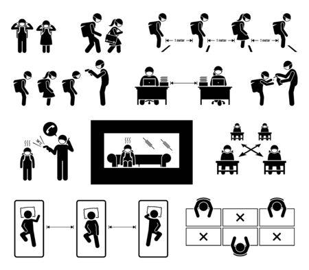 L'école rouvre les procédures opérationnelles standard SOP pour les illustrations du coronavirus Covid-19. Icônes vectorielles des conseils et directives SOP pour l'école, les étudiants et les enseignants pour éviter l'infection par le coronavirus.
