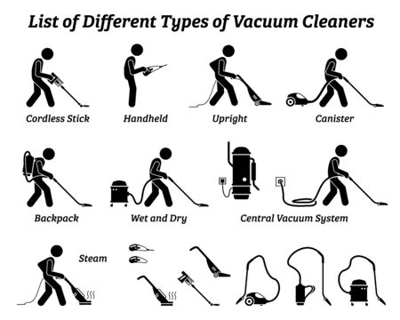 List of different types of vacuum cleaners icons illustration pictogram
