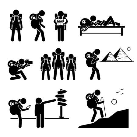 Female traveler with backpack going outdoor adventure stick figure icons. Vector depicts a tough independent woman travelling alone by reading map, taking pictures, and climbing mountain.