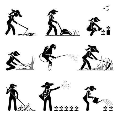Female gardener cutting grass and planting trees on backyard stick figure icons. Vector illustrations of woman farmer or botanist using gardening tool and farming equipment.