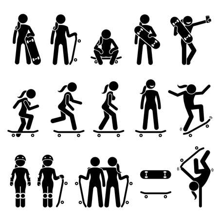 Female skater skating on skateboard stick figure icons. Vector illustrations of girl skateboarder poses, postures, and actions while playing skateboard.