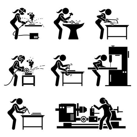 Female metal worker making iron craft with industrial tools and equipment stick figure icons. Vector illustrations of a skillful woman working in a steel workshop or foundry mill.