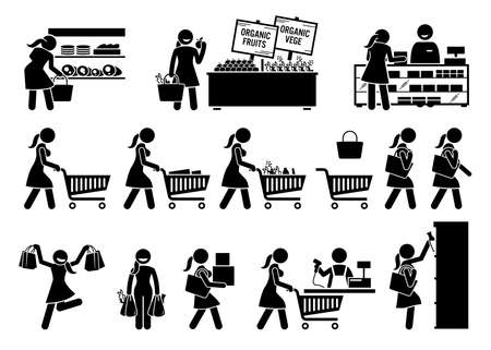 Woman buying meat, fruits, and vegetables at grocery store stick figure icons. Vector illustrations of girl choosing healthy foods at marketplace.