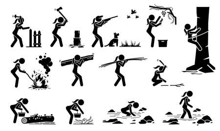 Woman living in traditional lifestyle in the forest or jungle stick figure icons. Vector illustrations of a girl surviving in the woods by hunting, searching foods, making fire, and climbing tree.