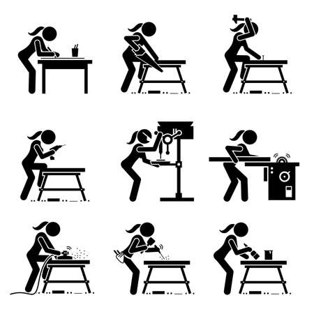Female carpenter making wooden craft with industrial tools and equipment stick figure icons. Vector illustrations of a skillful woman working in a workshop or carpentry mill. Vetores
