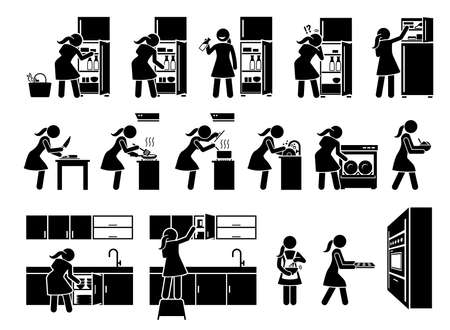 Young woman preparing food at kitchen stick figures icon. Vector artwork of a girl cooking at home and doing chores at house. Vetores