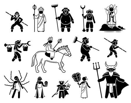Journey To The West characters icons set. Vector illustrations of legendary heroes and villains of the Chinese mythology.
