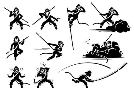 Monkey King or Sun Wukong characters icon set. Vector illustrations of the legendary monkey Son Goku actions, movements, and emotions. Vecteurs
