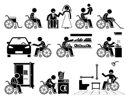 Disabled person on a wheelchair leading a normal life stick figure icons. Vector illustrations of a happy independent self reliance handicapped man doing daily activities and are self capable. Ilustración de vector