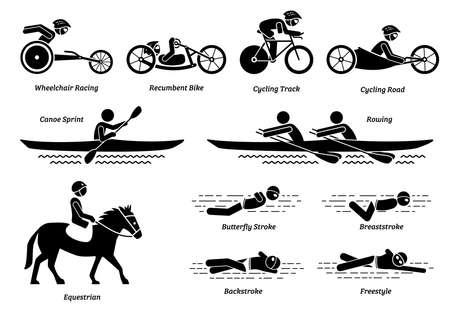 Disabled racing sports and games for handicapped athlete stick figures icons. Vector symbols of wheelchair racing, cycling, rowing, equestrian and swimming activities for people with disabilities.