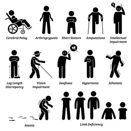 Different type of disabled and handicapped categories stick figures icons. Vector illustrations of people with physical disabilities that include body impairment, mental issue, and limb deficiency.