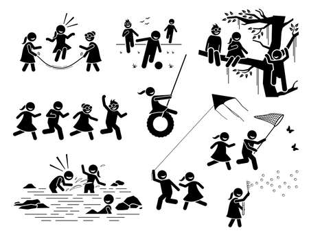 Healthy lifestyle of active children playing outside stick figures icons. Vector illustrations of kids climbing tree, running, catching butterfly, splashing water, playing kite, football, and bubbles.