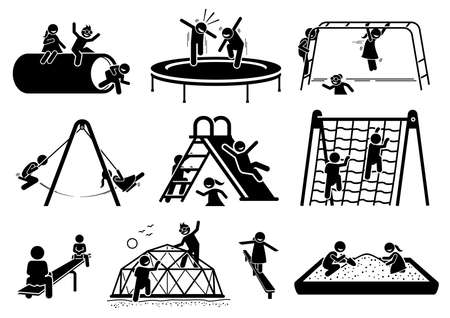 Active children playing at playground stick figures icons. Vector illustrations of kids playing trampoline, monkey bar, swing, slide, climbing net, seesaw, tunnel, and sand box.
