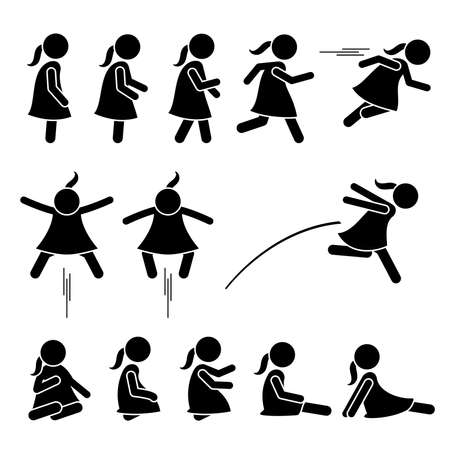 Little girl basic action poses stick figure icons. Vector illustration of a small girl standing, walking, running, jumping, and sitting on the floor. Illustration