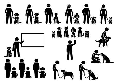 Dog training school icons set. Illustrations of dog obedient and behavioral training academy with instructor and students. Vektorové ilustrace