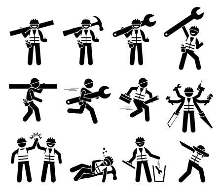 Construction worker and handyman stick figures icons set. Illustrations of industrial worker characters with tools and equipment for build, repair, and fix.