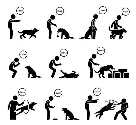 Advanced dog commands and behavioral training icons set. Illustrations of a person giving hand signals for the dog to follow in obedient learning. 向量圖像