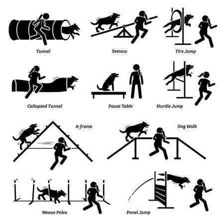 Dog agility competition icons set. Illustrations of dog agility obstacles and hurdles course event.