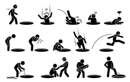 Stick figure man and a hole on the floor. Ilustrations of a person fall into, climbing out, look into, go inside, jump over, and cover a hole on the ground. Ilustração