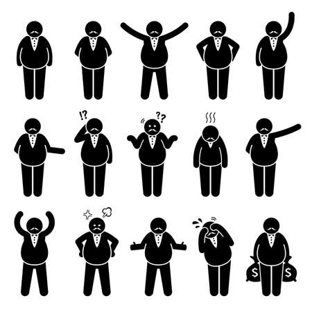 Fat boss or wealthy employer poses and actions stick figures character icon set. Vector illustrations of a fat rich man with different emotions and reactions.