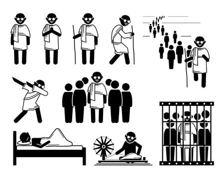 Mahatma Gandhi stick figures icons set. Vector illustrations of important key events of Mahatma Gandhi during his non violent protest in India.