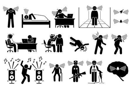 Tinnitus ear ringing noise in people icons. Vector illustrations of a man having tinnitus and experiencing a noisy sound in the ears. 일러스트