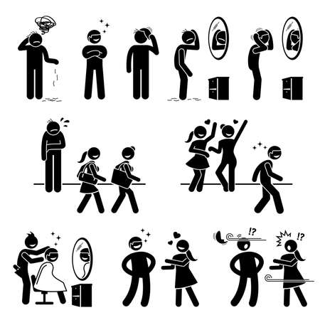 Bald man with a wig or fake hair stick figures icons. Vector illustration of an ugly sad man wearing a wig or toupee and become very handsome and happy.