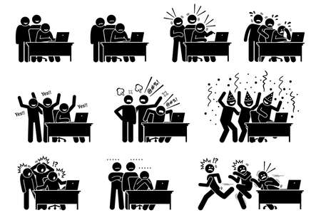 Group of friends reactions towards the online news and things they see and read from the Internet. Vector illustrations of a group of men reacting and showing different emotions at the laptop content. 矢量图像