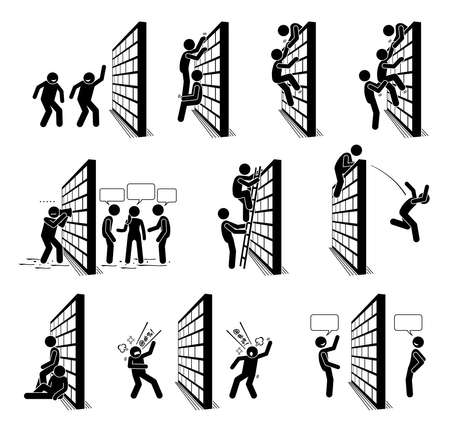 People with a wall stick figures pictogram icons. Vector illustration of people climbing over a wall, and standing on the other side of the wall.