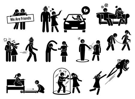 Friendzone or friend zone concept illustrations in stick figures icons. Vector graphics of a man being friend zoned by a girl that he loved.
